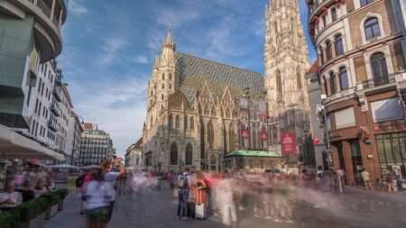 St. Stephen's Cathedral timelapse hyperlapse (Stephansdom, Domkirche St. Stephan), the mother church of Roman Catholic Archdiocese of Vienna and one of the tallest churches in the world, Stephansplatz, Vienna, Austria