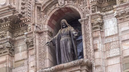 Staue on The Basilica Cathedral of Lima is a Roman Catholic cathedral located in the Plaza Mayor timelapse hyperlapse in Lima, Peru. Close up view to decoration elements