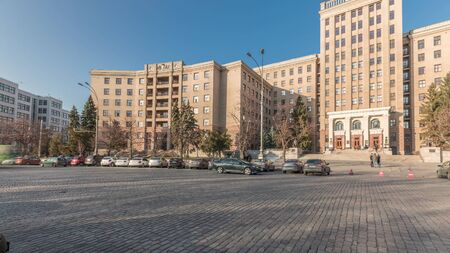 One of the corps of the Kharkov National University named after Karazin panoramic timelapse. Former Military Engineering Academy named after Govorov, Kharkiv, Ukraine