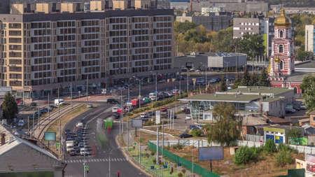 Traffic on the streets of the city aerial timelapse in Kharkov, Ukraine. Klochkovskaya street in the downtown near Shevchenko park Archivio Fotografico