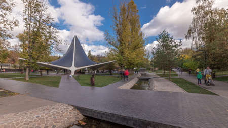 Sarzhin Yar park area with well-equipped pavilion of mineral spring in Kharkov panoramic timelapse, which is very popular among the residents of the city. Ukraine