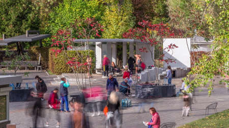 Sarzhin Yar park area with well-equipped mineral spring in Kharkov timelapse, which is very popular among the residents of the city. Ukraine