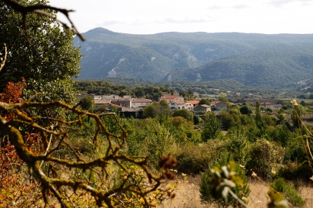 rural town: Rural town in the mountains of Navarra urbasa seen from the forest Stock Photo