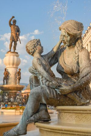 SKOPJE,NORTH MACEDONIA/AUGUST 22 2018: Statues and fountaind representing the life of Alexander the great,including his mother and Philip II, his father.Near Old Bazaar,Skopje city center.