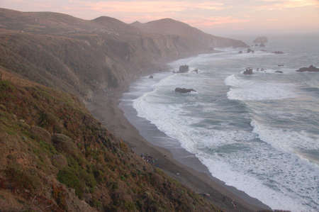 Beautiful California coast at dusk photo
