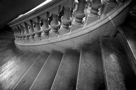 Marble spiral marble staircase leading downward