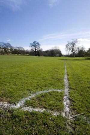 Corner of football playing fields, Southgate Enfield London England