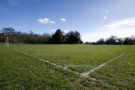 southgate: Corner of football playing fields, Southgate Enfield London England  Stock Photo