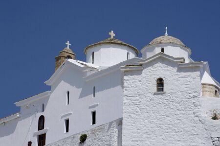 skiathos: Church on top of hill, Skopolos near island of Skiathos, Greece Stock Photo