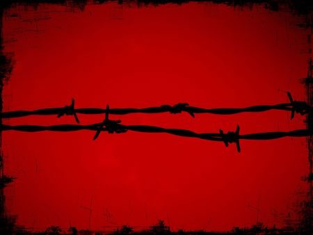 Barbed razor wire protecting building site from intruders with dark red background with distressed edge Stock Photo - 4348558