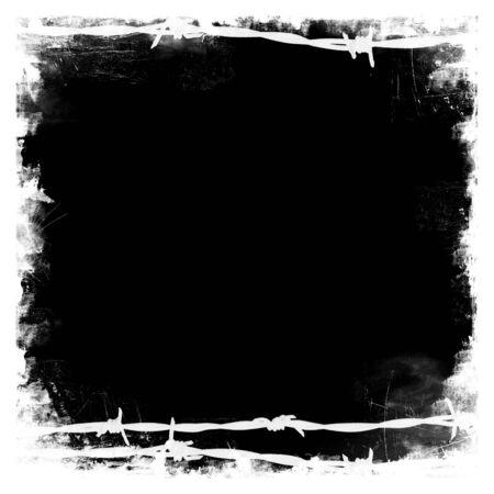 barbed wires: Alambre de espino negro frontera con marco cuadrado negro en blanco medio para su propio dise�o Foto de archivo