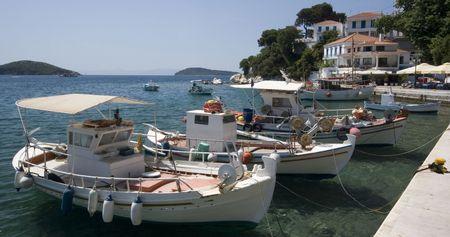 skiathos: Greek fishing boat in anchored in harbor, Skiathos, Greece  Stock Photo