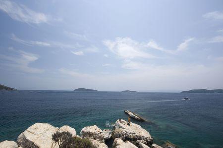 skiathos: Rocky outcrop of cape Plakes, Skiathos, Greece