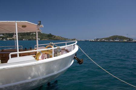 skiathos: Greek fishing boat in harbor, Skiathos, Greece Stock Photo
