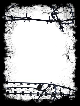 Razor wire black frame border with white blank middle for your own design 写真素材