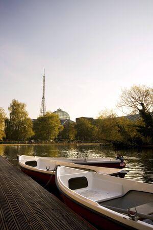 alexandra: Boating lake with Alexandra Palace in distance, London, England UK