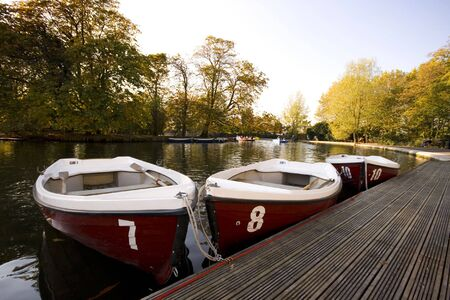 alexandra: Boats moored on boating lake Alexandra Palace, London, England UK Stock Photo
