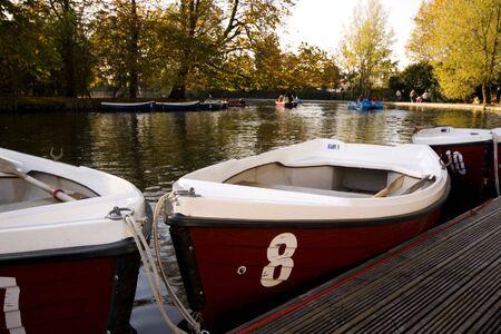 moored: Boats moored on boating lake Alexandra Palace, London, England UK Stock Photo