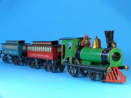 Old vintage metal toy steam train