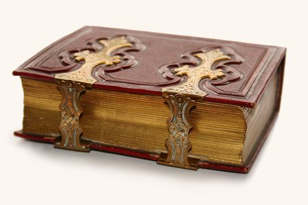 hardcover: Old dark red antique book, with golden clasp and pages