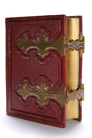 locked: Old dark red antique book, with golden clasp and pages