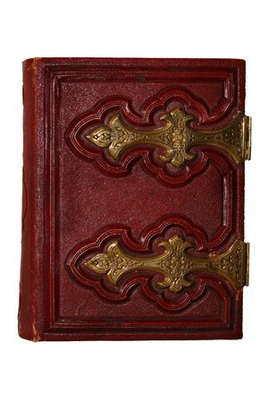 Old dark red antique book, with golden clasp and pages viewed from side photo