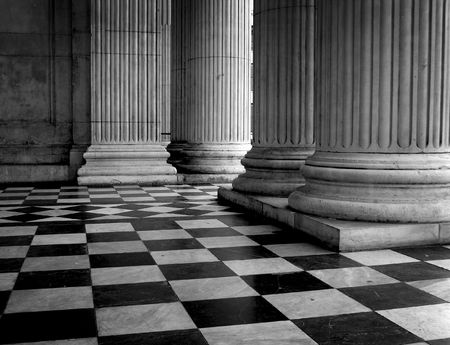 Tiled floor of St Pauls Cathedral entrance, London