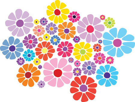 Colorful daisy flower  イラスト・ベクター素材