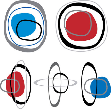 interlocking: Retro styled interlocking rounded squares in shades of red blue and black