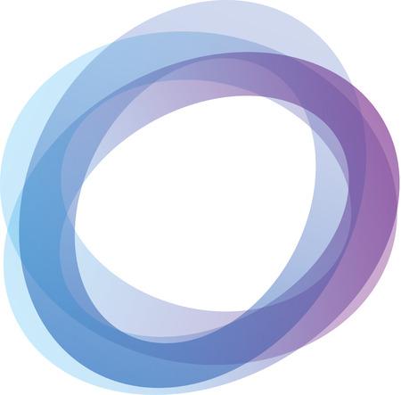 Retro estilo círculos entrelazados en tonos de azul y púrpura sobre fondo blanco