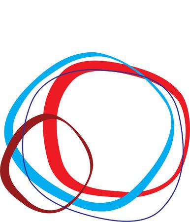 interlocking: Retro styled interlocking rounded squares in shades of blue and red on white background  Illustration