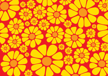 Bright yellow daisy flower vectors on red background Vector