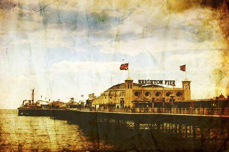 Distressed image of Brighton pier, England Reklamní fotografie