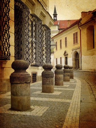 distressing: Old street scene in Prague with slight sepia distressing