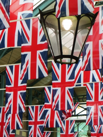 covent: Flags in Covent Garden for Diamond Jubliee and Olympics, London, 2012