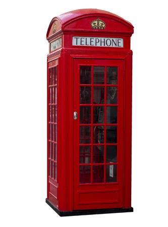 Old red telephone box, London, England photo