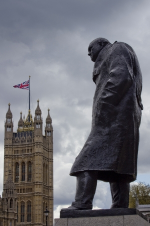 Churchill statue with Big Ben in distance, Westminster