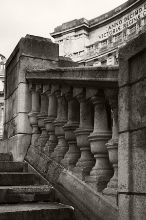 Old stone balustrade at the Admiralty Arch, London photo