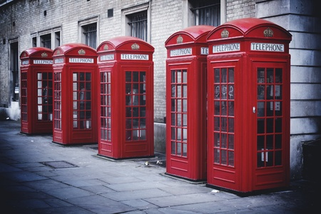 Red telephone boxes, London 写真素材