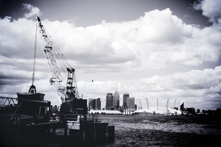 Canary Wharf and Millennium Dome Greenwich Peninsula, London England UK photo