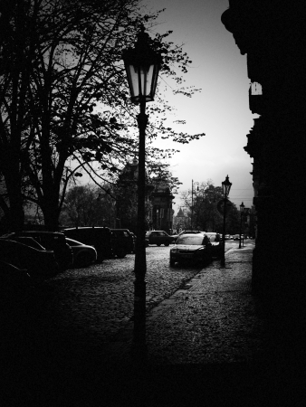 Prague street with pinhole effect Stock Photo - 17932237