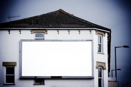 Large blank billboard on side of building