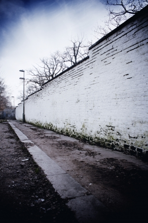 White wall on path