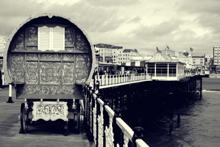 Gypsy caravan on Brighton Pier