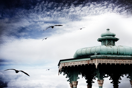 Old bandstand on Brighton promenade, England photo