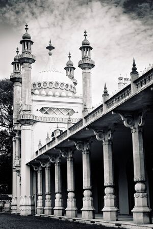 Brighton Pavilion columns in strong contrast black and white