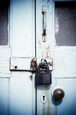 Lock on wooden door photo