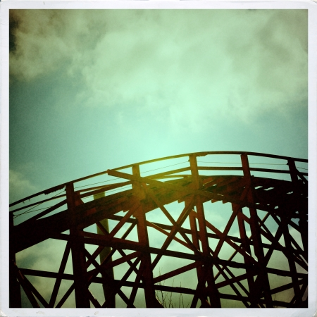 Old wooden rollercoaster photo
