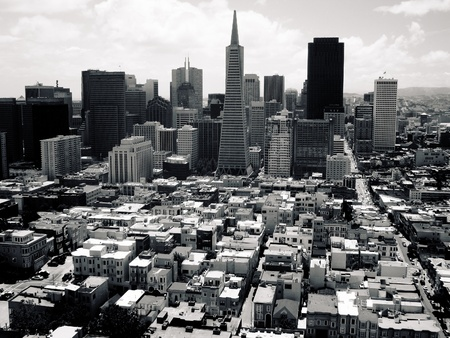 historic district: San Francisco skyline with Transamerica Pyramid Editorial