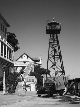 ALCATRAZ PRISON, SAN FRANCISCO, US - JUNE 2005  A view of the prison dock with guard tower on June 27, 2005 in Alcatraz Island, US  Which was used from 1933 until 1963